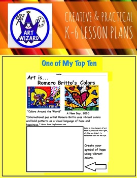 Art Elements - Romero Britto's Art  ( 7 Open Ended Printables)