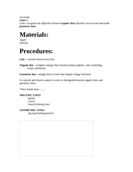 Art lesson- 1st grade - Organic and Geometric line