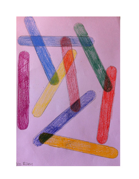 Art lesson- Color- Overlapping Craft Sticks (lesson 10) Grade 1