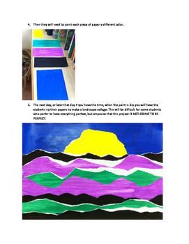 Art lesson- Color- Ripped Landscape Collage (lesson 11) Grade 3
