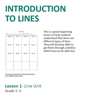 Art lesson- Introduction to Line (lesson 1) first-sixth grade