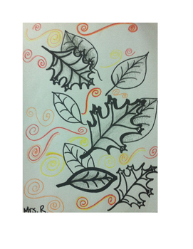 Art lesson- Line- Lines from Leaves (lesson 3) Grade 6
