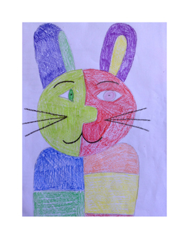Art lesson- Shape- Cubism Rabbit (lesson 5) Grade 1