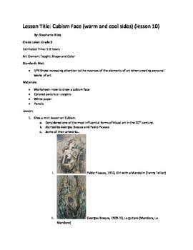 Art lesson- Shape and Color- Cubism Face (lesson 10) Grade 3