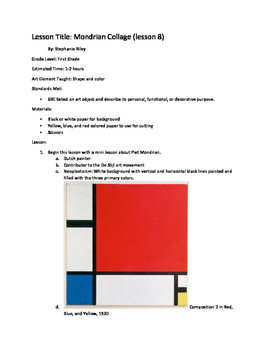 Art lesson- Shape and Color- Mondrian Collage (lesson 8) Grade 1