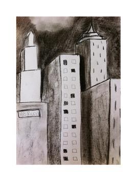 Art lesson- Skyscraper Lines (lesson 4) Grade 3