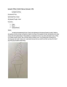 Art lesson- Value- Color Value (lesson 19) Grade 1