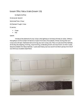 Art lesson- Value- Value Scale (lesson 16) Grade 2
