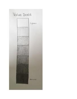 Art lesson- Value- Value Scale (lesson 18) Grade 1