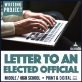Elected Representative or Legislator Letter Project PBL Print & Digital