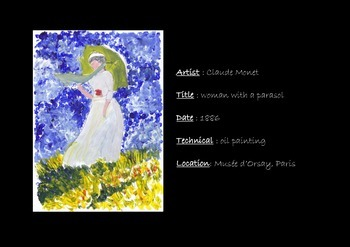 Art project for kids inspired by Claude Monet «woman with a parasol»