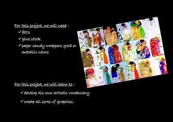 Art project for kids inspired by Gustav Klimt, «the  kiss»