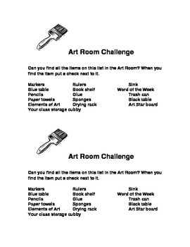 Art room scavenger hunt