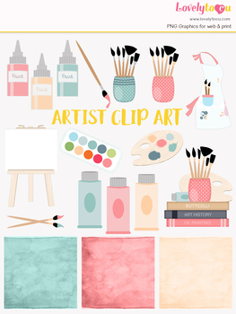 Art supply symbols clipart, art class clipart (LC08)