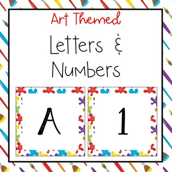 Art themed letters and numbers for bulletin board, calendars, & class management