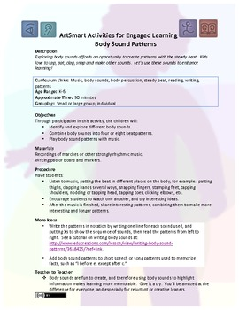 ArtSmart Activities for Engaged Learning:  Body Sound Patterns