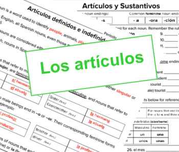 Artcículos - Spanish Articles Notes and Worksheet