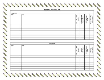 Artefact Tracking Sheet (PBLA/ESL)