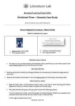 Artemis Fowl - Character Case Study Worksheet
