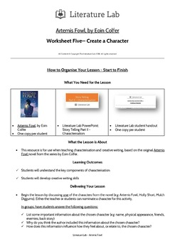 Artemis Fowl - Create a Character Worksheet