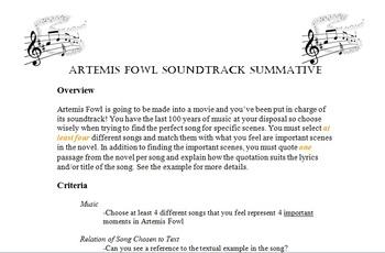 Artemis Fowl - Novel Study Summative Assignment