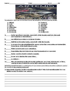 Artemis by Andy Weir (The Martian) Chapter 14 Worksheets/Assessment