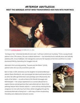 Artemisia Gentileschi Female Renaissance Painter Article/Questions