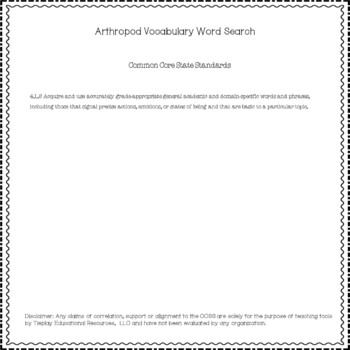 Arthropod Phylum Nonfiction Vocabulary Word Search and Key Activity No Prep