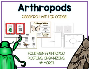 Arthropods - Animal Research w QR Codes, Posters, Organizer - 14 Pack