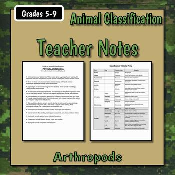 Arthropods Teacher Notes & Assignment