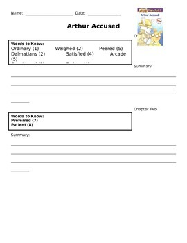 Arthur Accused Vocabulary and Summary Statement Comprehension Check