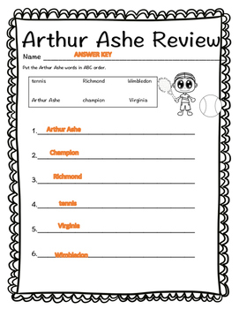 Arthur Ashe Biography Book and Review Comprehension Sheet