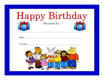 Arthur Birthday Certificates (Includes 4 Certificates)