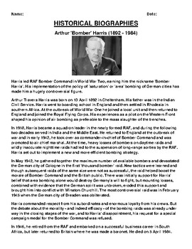 Arthur 'Bomber' Harris Biography Article and (3) Assignments