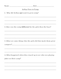 Arthur Goes to Camp- Comprehension Questions