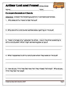 Arthur Lost and Found {Comprehension and Written Response Activities}
