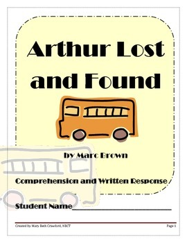 Arthur Lost and Found {Comprehension and Written Response