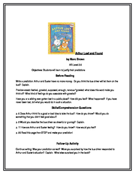 Arthur Lost and Found for Guided Reading