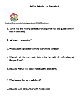 Arthur Meets The President Comprehension questions