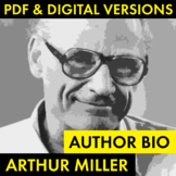 Arthur Miller Author Study Worksheet, Easy Biography Activity, The Crucible CCSS