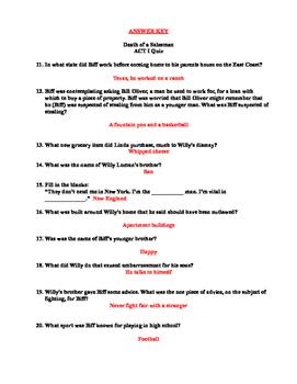 Arthur Miller's Death of a Salesman- ACT I Reading Quiz