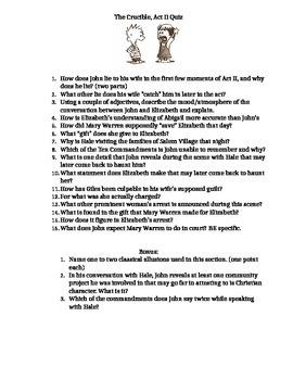 Arthur Miller's The Crucible, Act II, Quiz