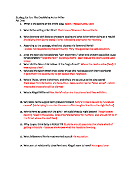 Arthur Miller's The Crucible Study Guide and Answer Keys
