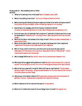 arthur miller s the crucible study guide and answer keys by ms zavadsky rh teacherspayteachers com the crucible study guide answers act one answer key to the crucible study guide
