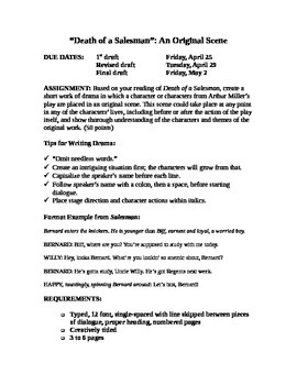 "Arthur Miller's ""Death of a Salesman"": Creative Writing Assignment"
