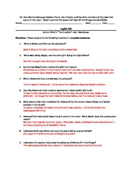 Arthur Miller's The Crucible--Act I Worksheet