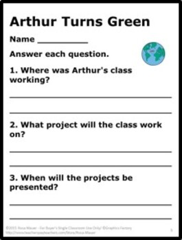 Arthur Turns Green Reading Comprehension Questions