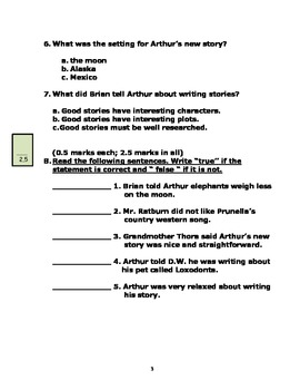 Arthur Writes a Story - Reading Comprehension Quiz and Writing Worksheets