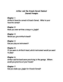 Arthur and the Crunch Cereal Contest comprehension questions