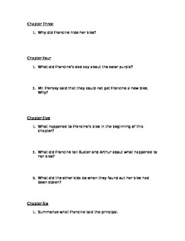 """Arthur and the Mystery of the Stolen Bike"" Comprehension Questions"